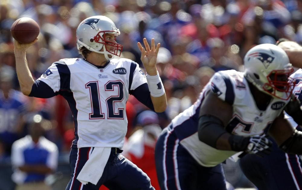 Tom Brady throws against the Buffalo Bills during the first quarter in Orchard Park, N.Y., on Sunday. (AP)