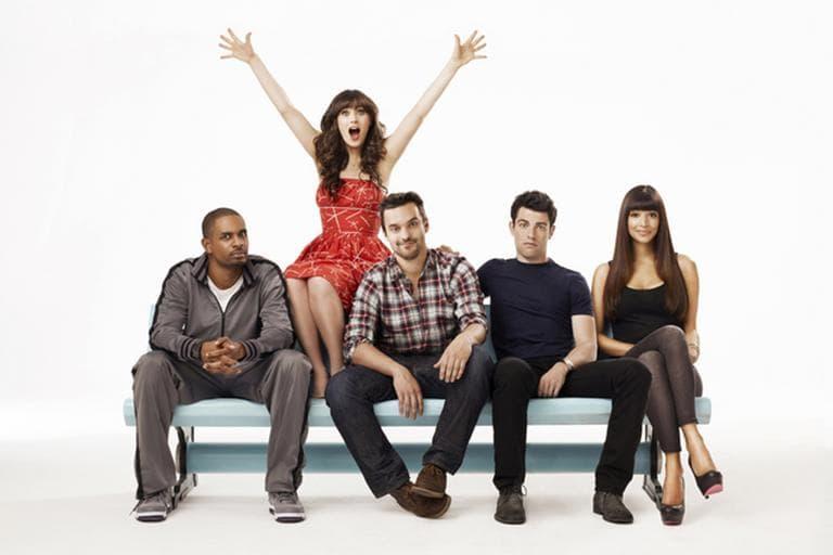 "Damon Wayans Jr., Zooey Deschanel, Jake Johnson, Max Greenfield and Hannah Simone star in ""New Girl."" (FOX)"
