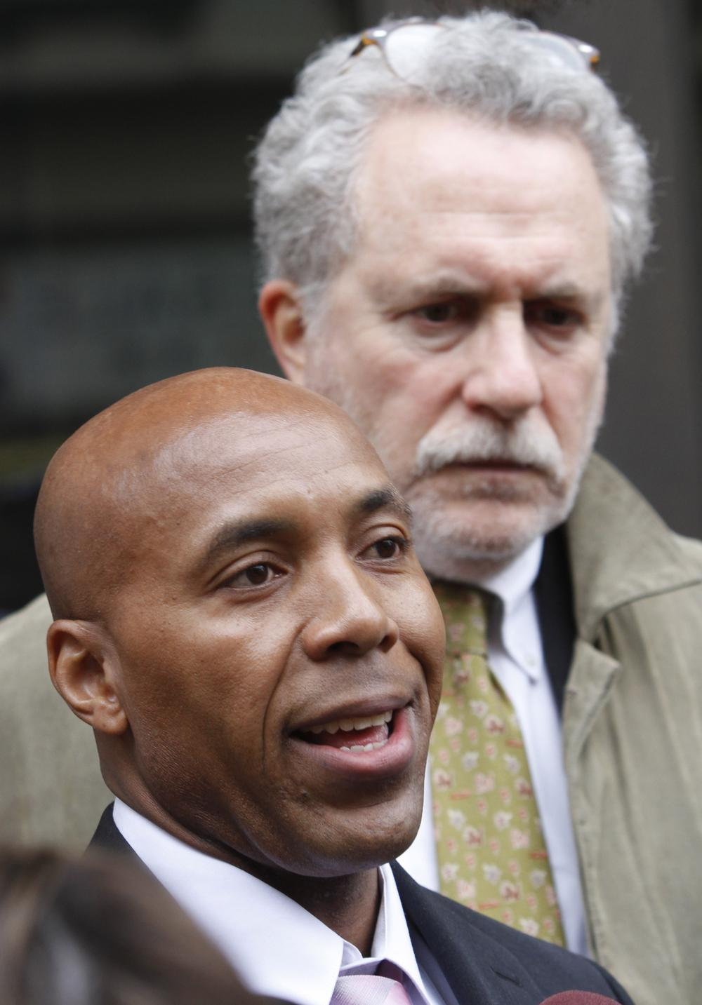 Thomas Haynesworth, front, with his attorney Peter Neufeld in March. (AP)