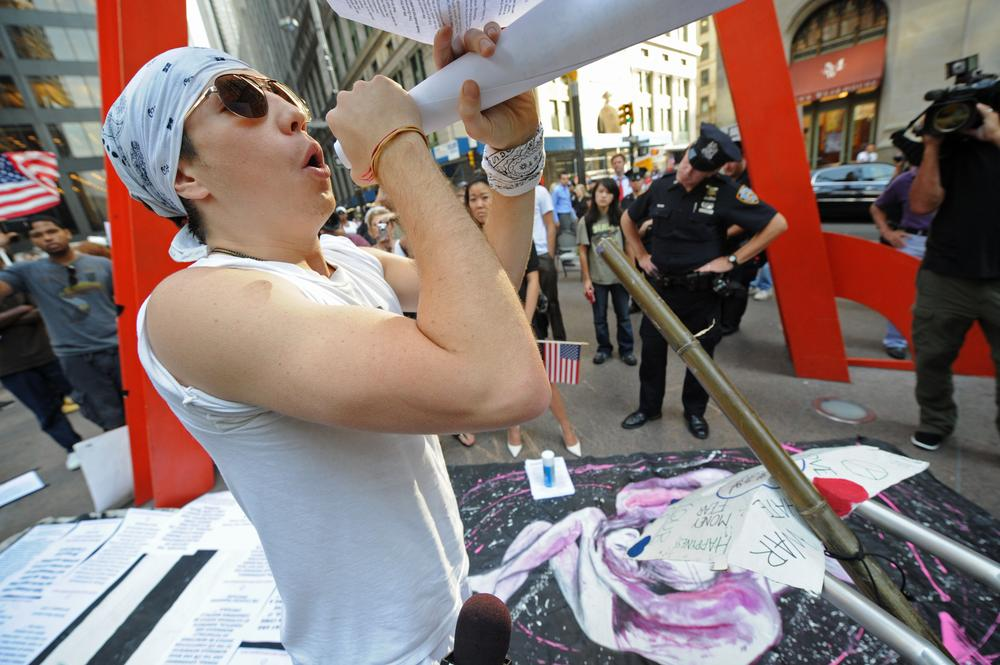 Kevin Vancio joined the Occupy Wall Street protest in front of Zuccotti Park near Wall Street yesterday. (AP)