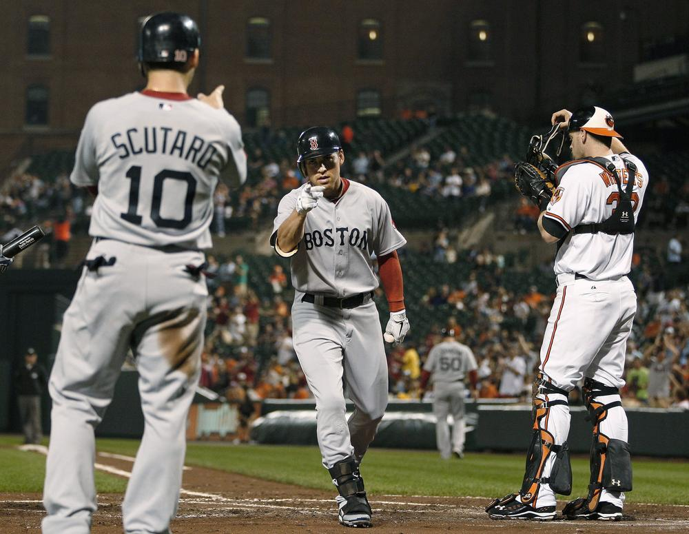 Boston's Jacoby Ellsbury celebrates after hitting a home run against Baltimore Tuesday. (AP)