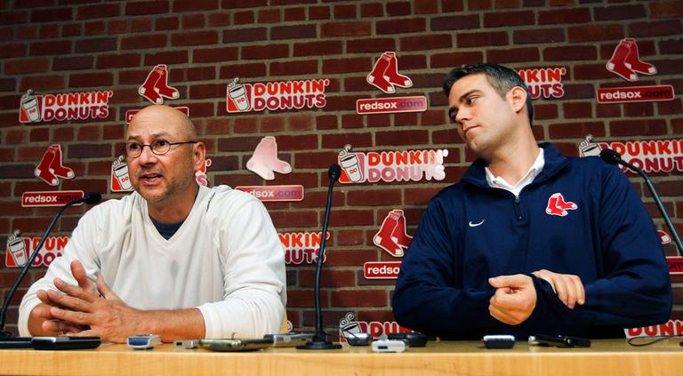 Red Sox manager Terry Francona, left, and general manager Theo Epstein hold a news conference Thursday, a day after the Sox ended their season in devastating fashion. (AP)