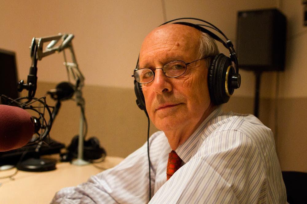 Justice Stephen Breyer in the On Point studio. (Jesse Costa/WBUR)