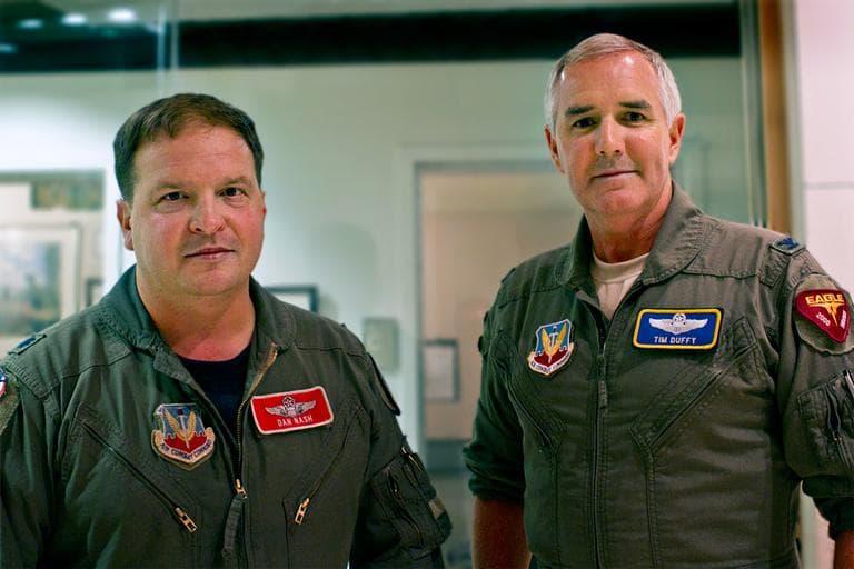 Lt. Col. Dan Nash, left, and Col. Tim Duffy, in a WBUR studio (Jesse Costa/WBUR)