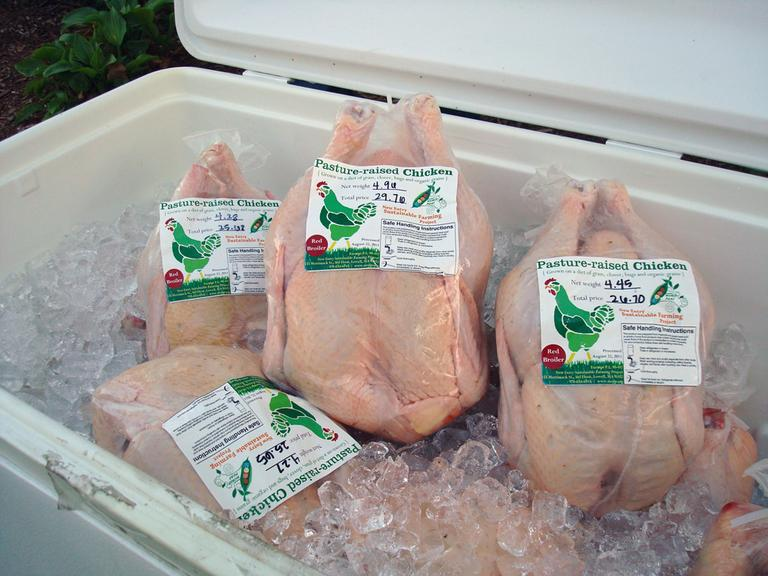 Pasture-raised chicken is more expensive than most chicken you'd find at a grocery store. (Adam Ragusea/WBUR)