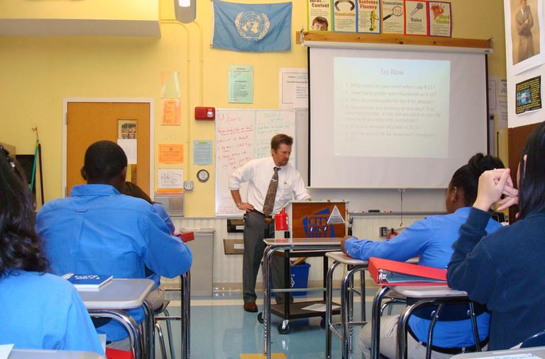 Patrick Foley has incorporated 9/11 into his curricula since 2001. (Adam Ragusea/WBUR)