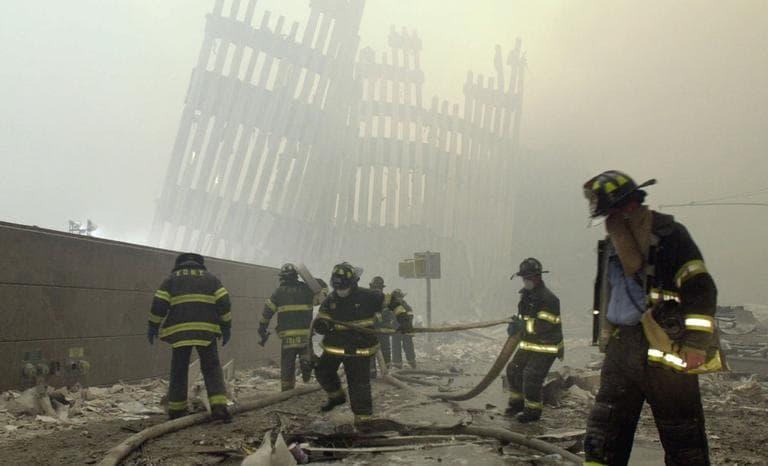 New York City firefighters on Cortlandt Street (AP)