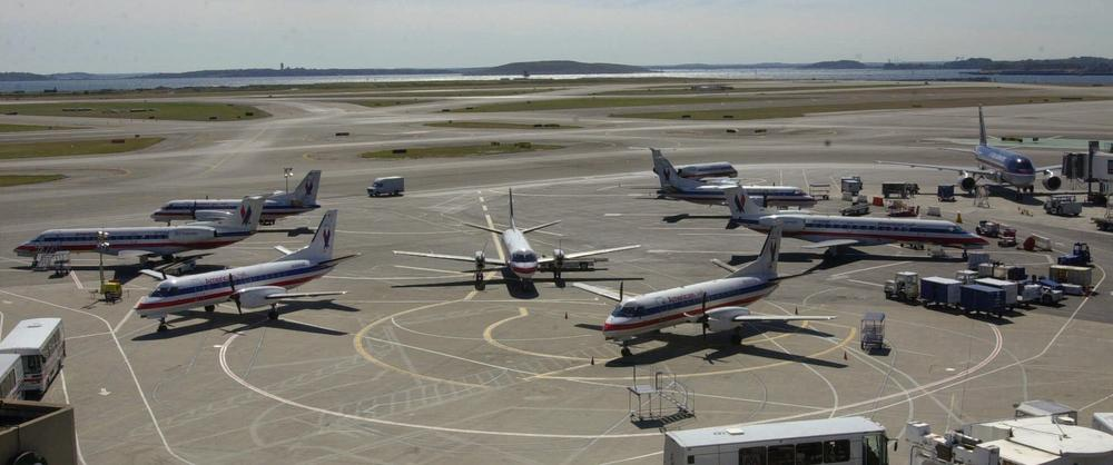 Planes sit idle at Logan Airport on Sept. 11, 2001, in the wake of the attacks. (AP)