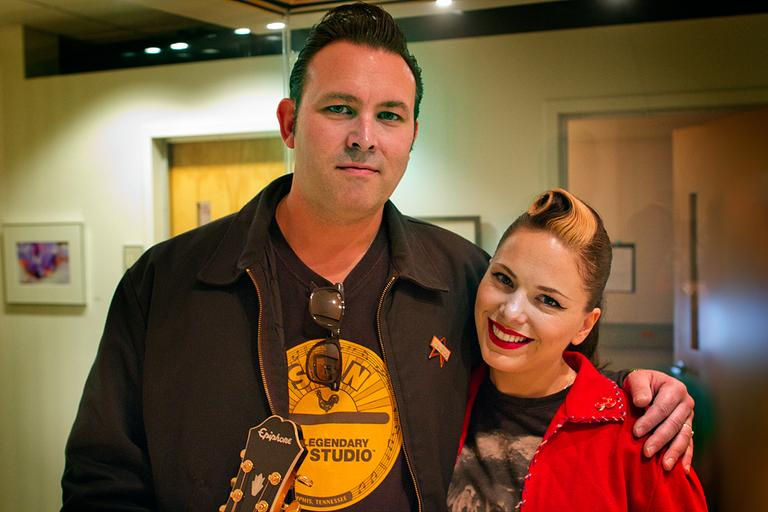 Imelda May and her husband, the guitarist, Darrel Higham, at our studios. (Jesse Costa/Here & Now)