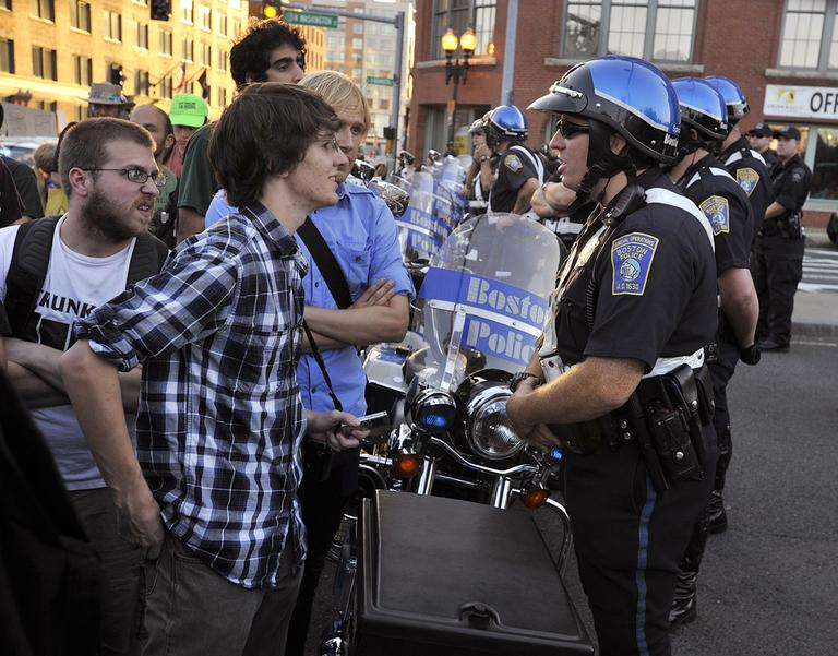 Occupy Boston protesters during a standoff with Boston Police at the Charlestown Bridge Oct. 10 (AP)