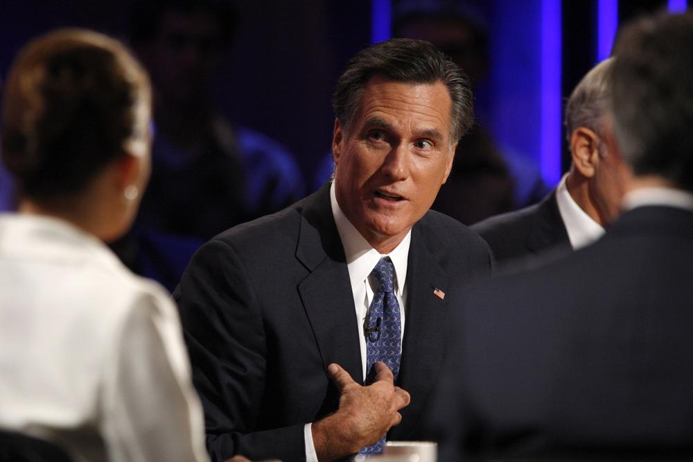 Republican presidential candidate former Massachusetts Gov. Mitt Romney participates in a presidential debate at Dartmouth College in Hanover, N.H., Oct. 11. (AP)