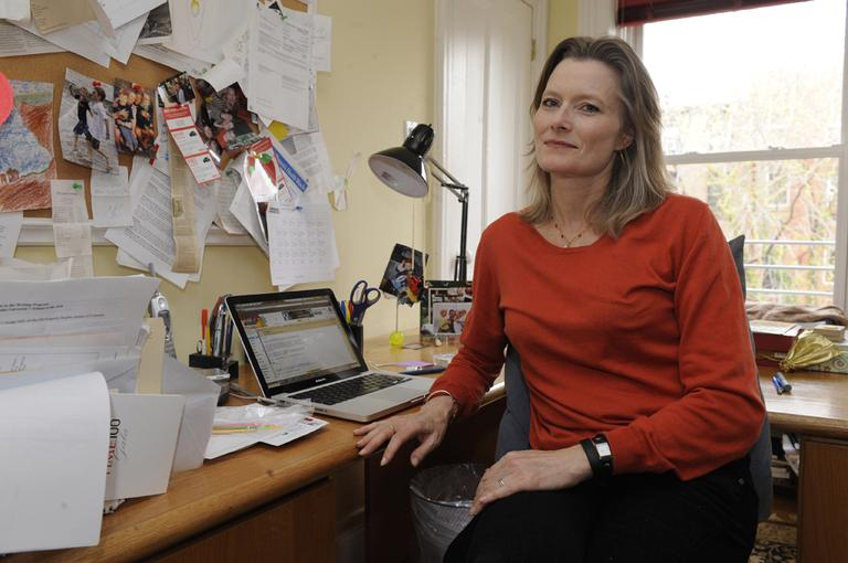 "Jennifer Egan, seen here on the office of her home in the New York City borough of Brooklyn, won the Pulitzer Prize for fiction for her novel ""A Visit from the Goon Squad,"" honored for its ""big-hearted curiosity about cultural change at warp speed,"" Monday, Apr. 18, 2011, in New York. (AP)"