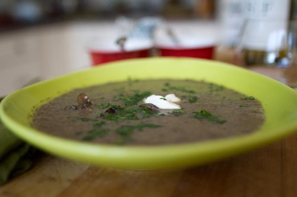 Kathy Gunst's mushroom soup. (Jesse Costa/Here & Now)