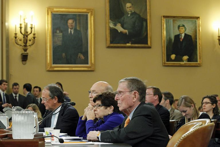 From right to left, former Senate Budget Committee Chairman Pete Domenici, R-N.M., former White House Budget Director Alice Rivlin, and former Sen. Alan Simpson, R-Wyo., and Erskine Bowles, co-chairs of the National Commission on Fiscal Responsibility and Reform, offer their advice to the Joint Select Committee on Deficit Reduction during a hearing on  Capitol Hill in Washington, Tuesday, Nov. 1, 2011.  (AP)