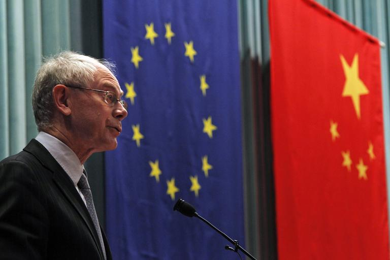 European Union President Herman van Rompuy speaks at the Central Party School in Beijing during his first visit to China. The agenda of the three-day visit in May 2011 included the Euro zone's debt crisis, trade and business agreements. Beijing is playing a critical role in buying troubled European debt. (AP)