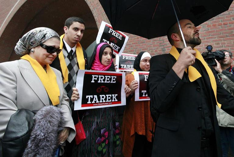 Tamer Mehanna, speaks outside U.S. District Court in Boston, Oct. 24, after a day of jury selection in the trial of his brother, Tarek Mehanna, of Sudbury, Mass. (AP)