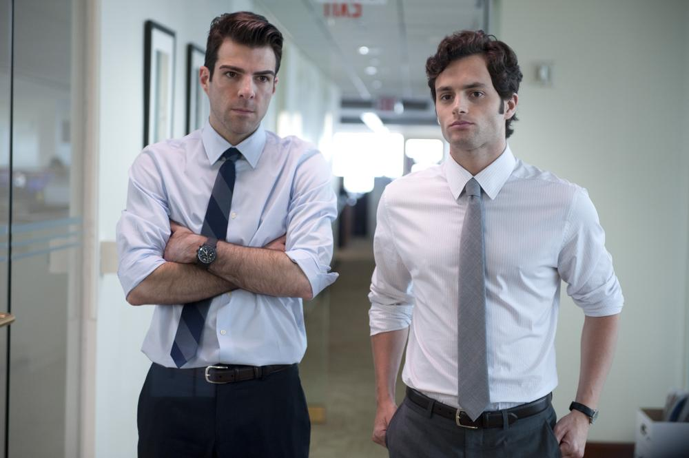"Zachary Quinto, left, and Penn Badgley are shown in a scene from ""Margin Call."" (AP/Roadside Attractions)"