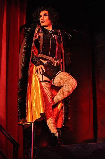 "Ryan Landry, of the Gold Dust Orphans, rehearses his role as Dr. Frank N. Furter in the troupe's ""Rocky Horror Show,"" at the Oberon in Harvard Square. (Courtesy Gold Dust Orphans)"