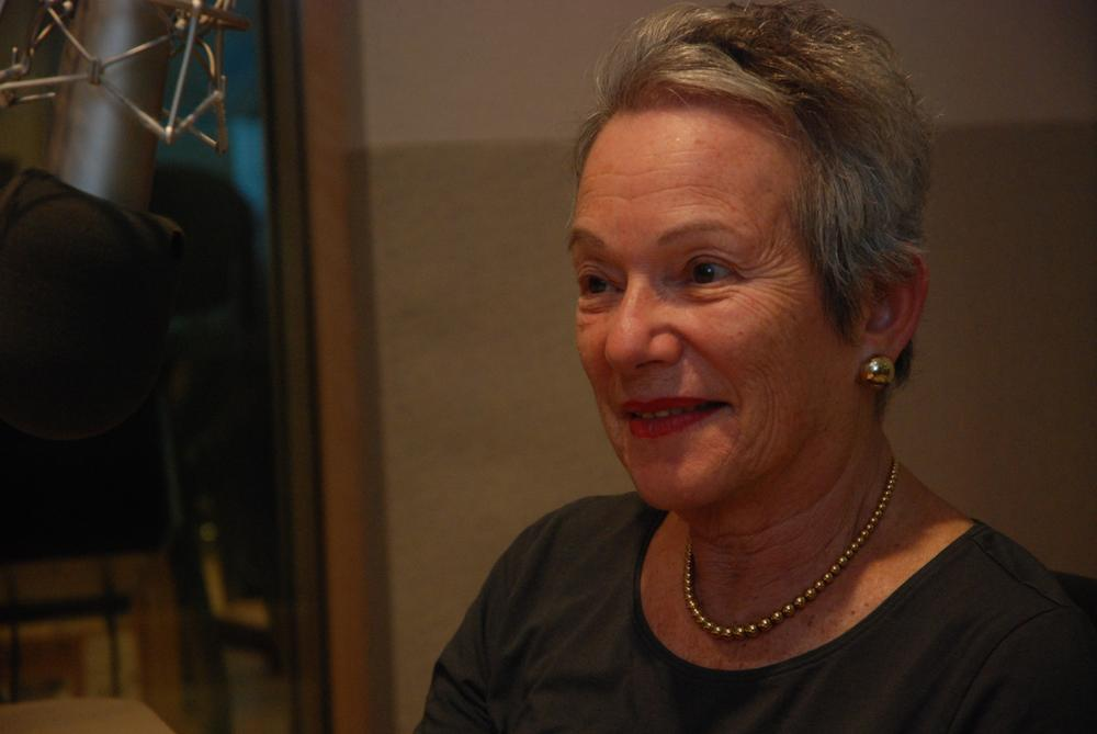 Edith Pearlman came by Here & Now's studios at WBUR in Boston. (Robin Lubbock/Here & Now)