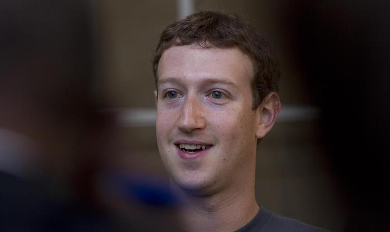 Facebook founder Mark Zuckerberg at MIT, Monday (Luke Boelitz for WBUR)