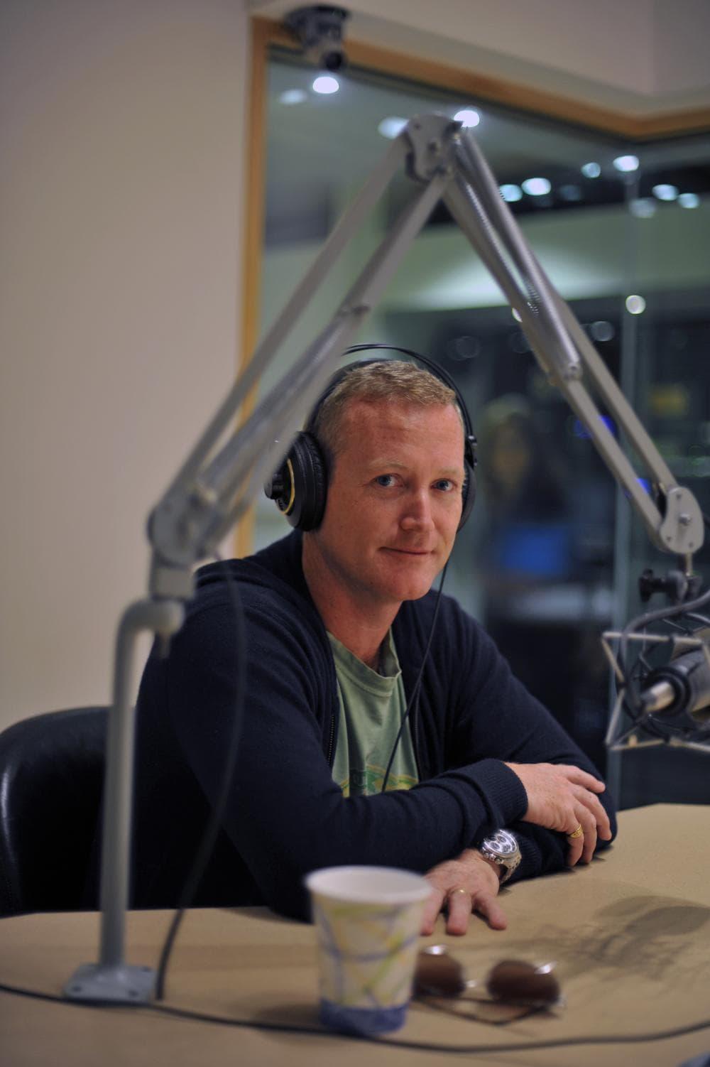 James Hider in the On Point studio. (Alex Kingsbury/WBUR)
