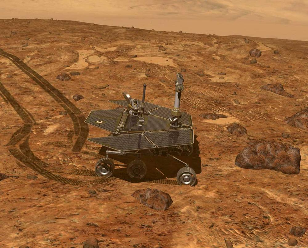 This artist's rendering provided by NASA portrays the Mars Rover, Opportunity, on the surface of Mars. NASA plans to launch a new Mars rover and science lab on November 25. (AP/NASA)