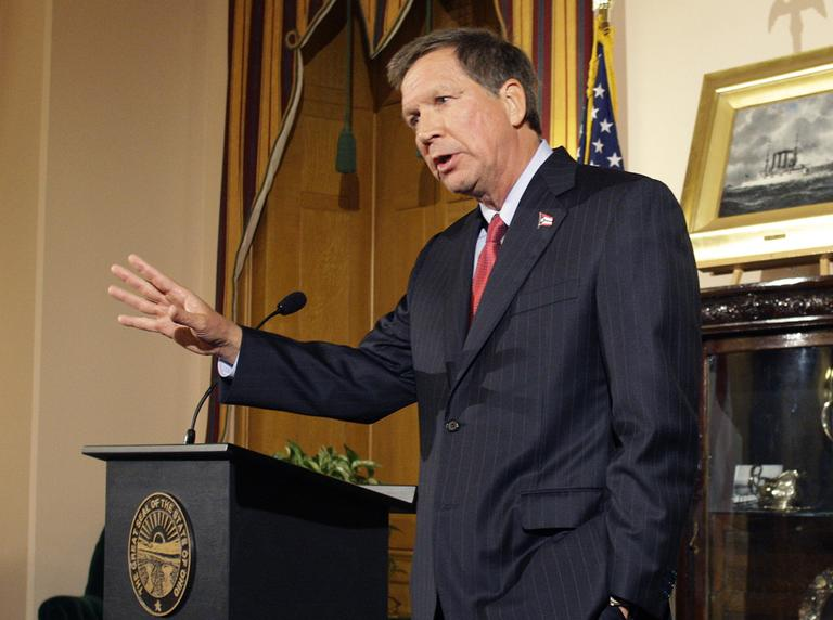 Ohio Gov. John Kasich speaks about Issue 2 and election results at a news conference Tuesday, Nov. 8, 2011, in Columbus, Ohio. In a political blow to Kasich, voters handily rejected the state's new law, which would have limited the bargaining abilities of 350,000 unionized public workers. (AP)