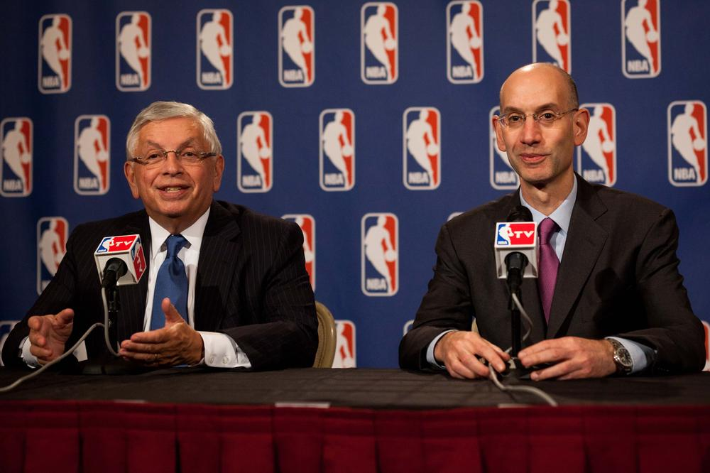 National Basketball Association commissioner David Stern, left, speaks alongside deputy commissioner Adam Silver during a news conference after a marathon meeting with the Players Association, Thursday. (AP)