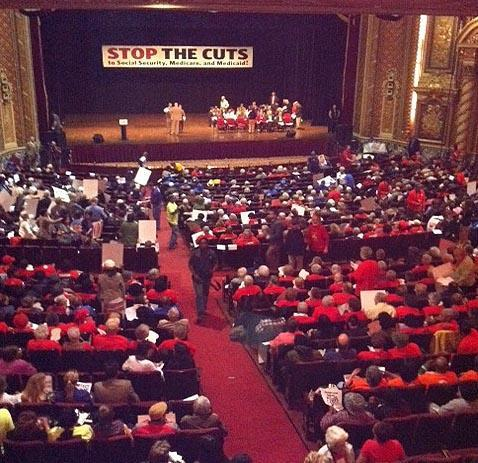 Seniors rally at the Wang Theater in Boston, Wednesday. (Monica Brady-Myerov)