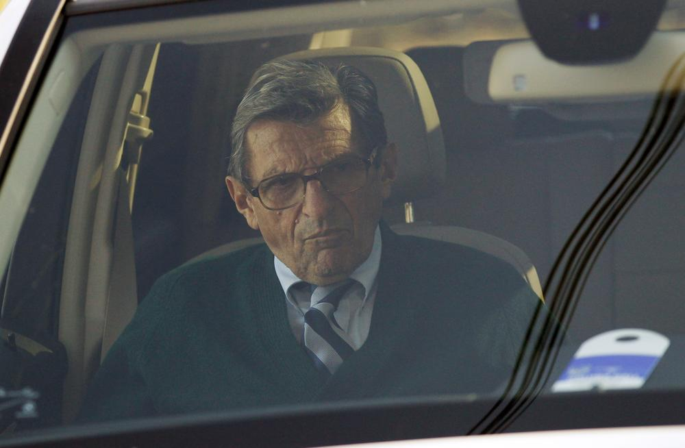 Penn State football coach Joe Paterno arrives home Wednesday in State College, Pa. (AP)