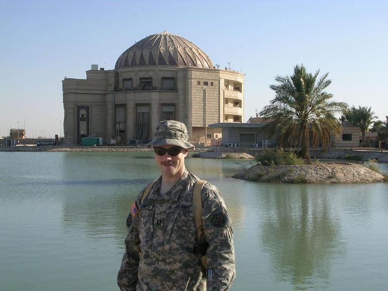 Former Navy Lieutenant Jonas Akins of Dover, Mass. on duty in Iraq in 2008. (Courtesy)