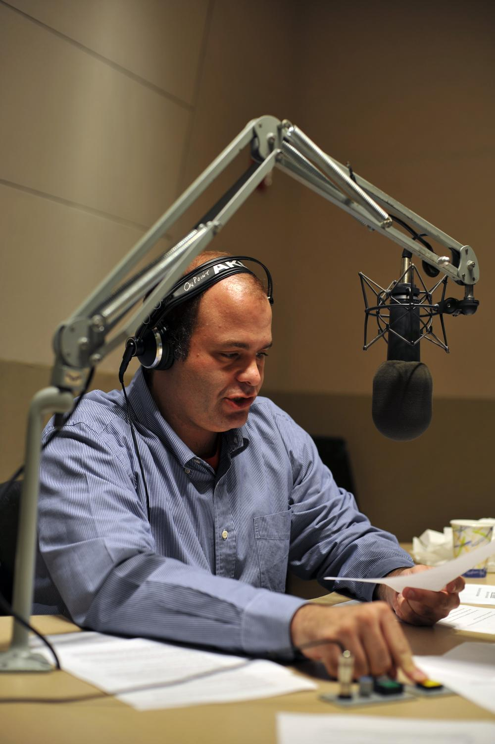 Guest host Mike Pesca in the On Point studios. (Alex Kingsbury/WBUR)