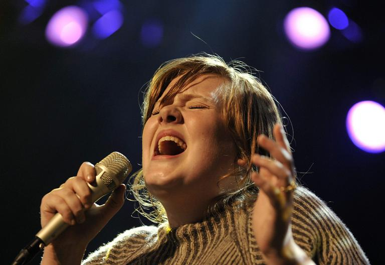 British singer Adele performs on the stage of the Miles Davis hall during the 42nd Montreux Jazz Festival in Montreux, Switzerland, late Saturday, July 12, 2008. (AP)