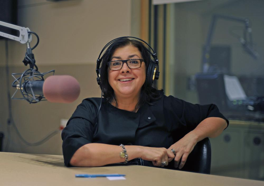 Professor Penelope Bitzas in the On Point studio. (Alex Kingsbury/WBUR)