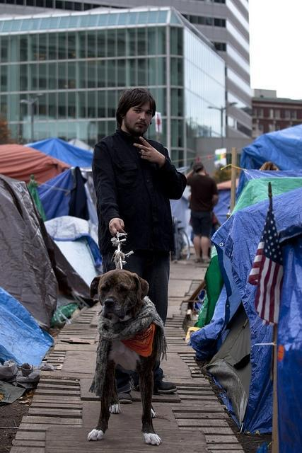 Occupy Boston protester Dave and his dog pose on one of the 'streets' of the Occupy Boston campsite. (Luke Boelitz for WBUR)