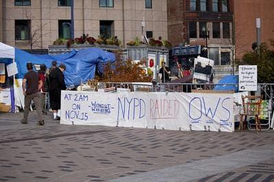 Occupy Boston's encampment in Dewey Square, Wednesday (Luke Boelitz for WBUR)