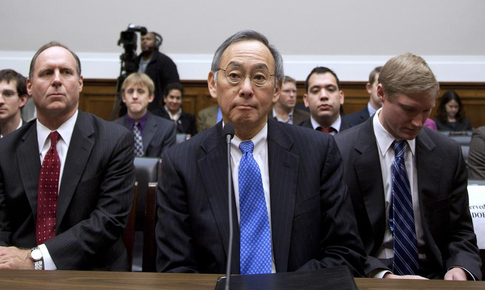 Energy Secretary Steven Chu testifies on Capitol Hill in Washington Thursday before the House Oversight and Investigations subcommittee hearing on the Solyndra solar company loans. (AP)