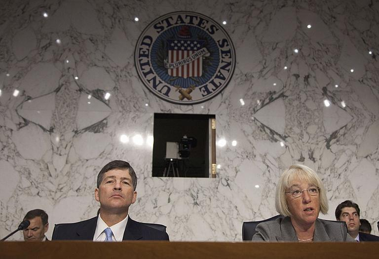 Joint Select Committee on Deficit Reduction Co-Chairs Sen. Patty Murray, D-Wash., right, and Rep. Jeb Hensarling, R-Texas, preside over a hearing of the committee on Capitol Hill. (AP Photo/Evan Vucci)