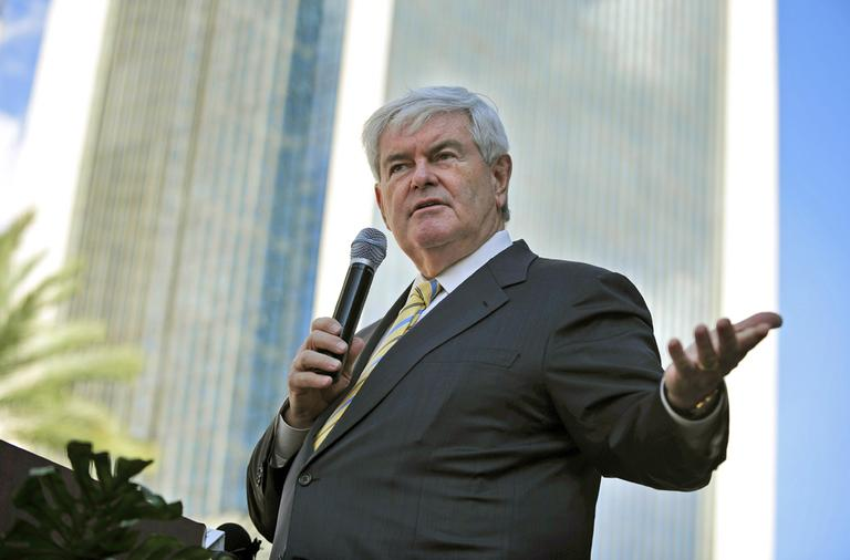 Republican presidential candidate, former House Speaker Newt Gingrich gestures as he speaks to supporters during a rally at the Jacksonville Landing, Thursday, Nov. 17, 2011, in Jacksonville, Fla.  (AP)