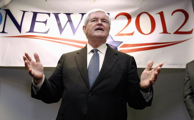 Republican presidential candidate Newt Gingrich speaks to supporters at the opening of the Newt2012 office in Manchester, N.H., Nov. 11. (AP)