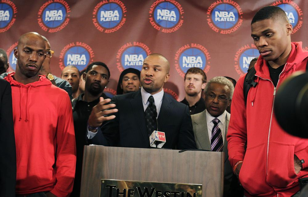 After meeting on Monday, NBA players rejected what the league had termed its best remaining offer and disbanded its players association. (AP)
