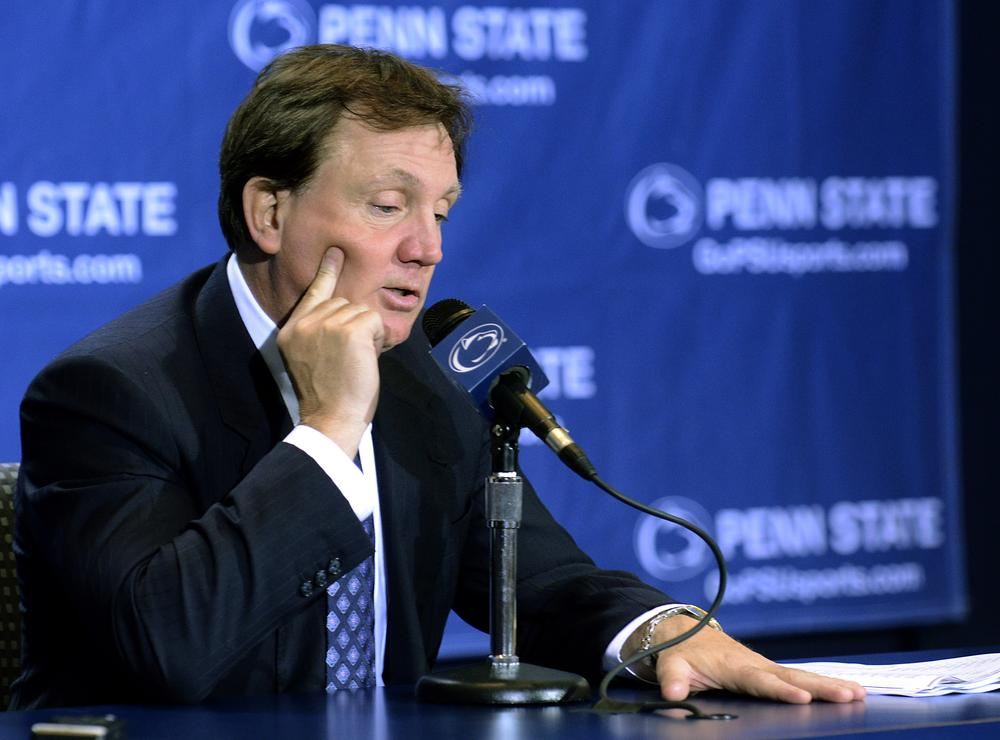 Penn State interim football coach Tom Bradley answers questions during a news conference on Tuesday in State College, Pa. (AP)