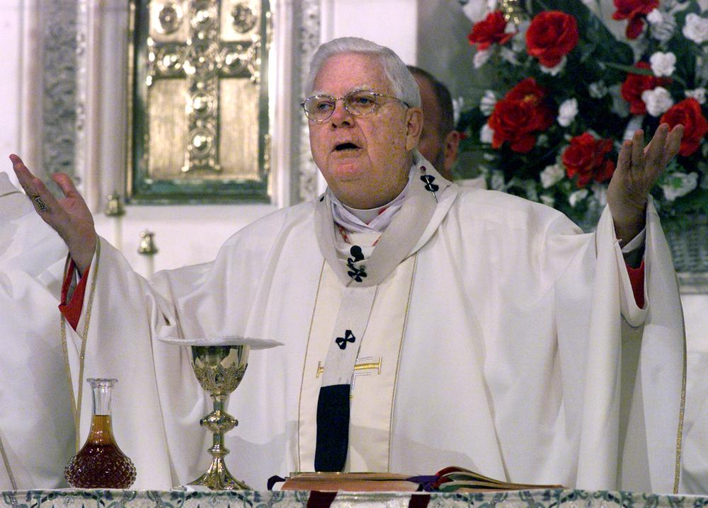 Cardinal Bernard Law, when he was archbishop, celebrating Mass at the Basilica of Our Lady of Perpetual Help church in Boston in 2002. During the Mass, Law recited a special prayer for victims of sexual abuse. (AP)