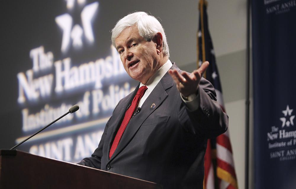 Republican presidential candidate, former House Speaker Newt Gingrich, speaks at a town meeting at St. Anselm College in Manchester, N.H. on Monday. (AP)