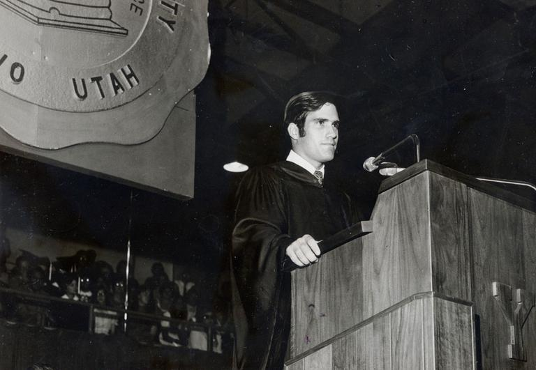 Mitt Romney delivers a commencement address at Brigham Young University in 1971. He then began a joint business and law program at Harvard University. (AP/Courtesy of Romney family)