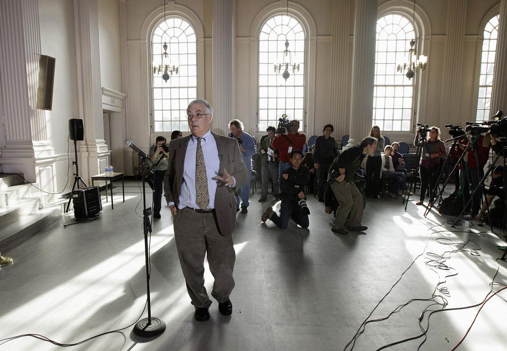 Rep. Barney Frank walks up to the microphone to announce he will not seek reelection in 2012, Monday in Newton, Mass. (AP)