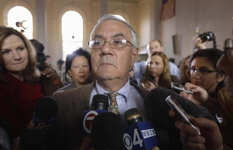 Rep. Barney Frank after announcing he will not seek reelection in 2012, in Newton, Monday (AP)