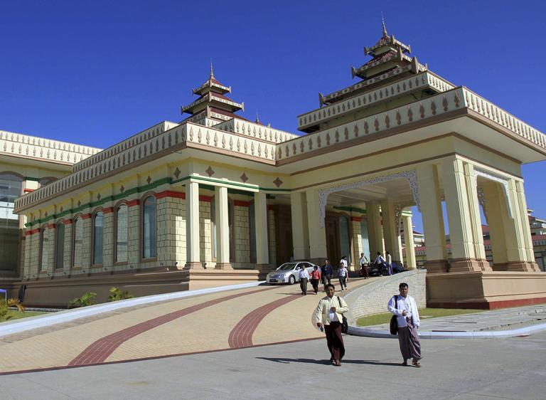 An exterior view shows Myanmar's Parliament buildings where the second regular session is being held in Naypyitaw, Myanmar, Friday, Nov. 25, 2011. Parliament approved Thursday a law guaranteeing the right to protest, one of a series of reforms under the new elected government. (AP)