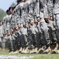 Members of the 101st Airborne Division march in Fort Campbell, Ky. (AP)