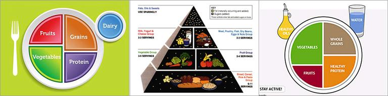 """From left: The USDA's new """"My Plate""""; the food pyramid; and Harvard's """"Healthy Eating Plate."""""""